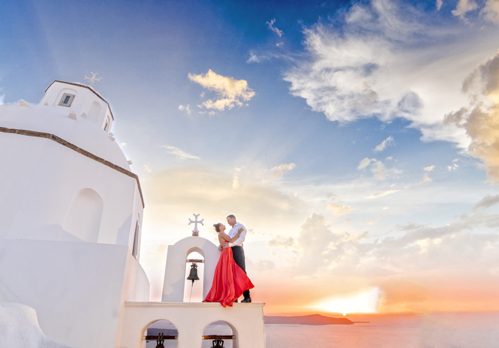 Sunset Engagement Photos  at Santorini, Greece